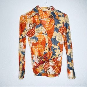 Vtg Unique Patchwork Cafe Girl Nylon Button Up Top